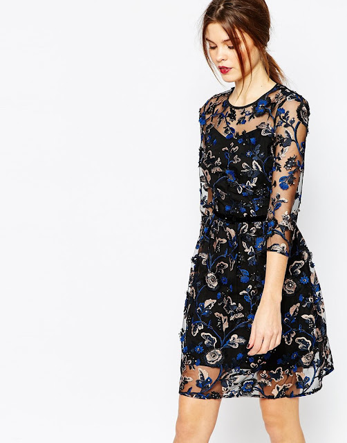 warehouse blue black sheer dress,
