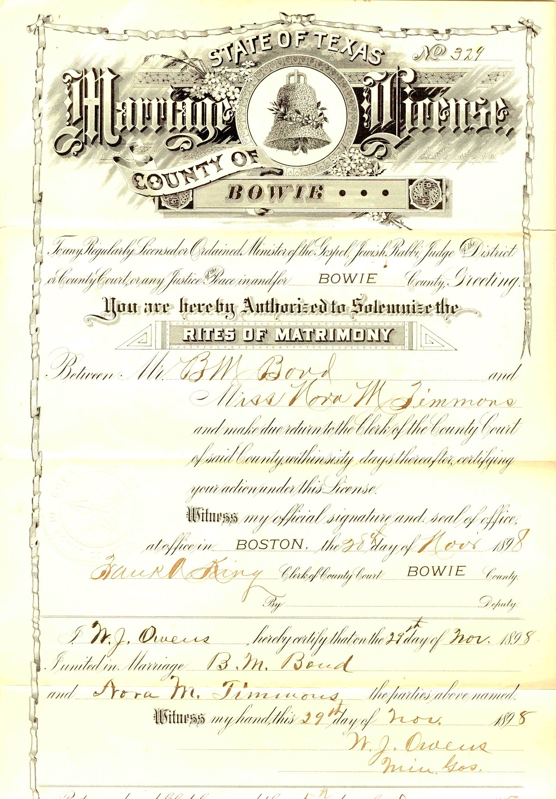 My missing cousins benjamin nora timmons bond marriage certificate this is a copy of my grandparents marriage certificate they were married in bowie county texas on november 29 1898 i came by this document after xflitez Gallery