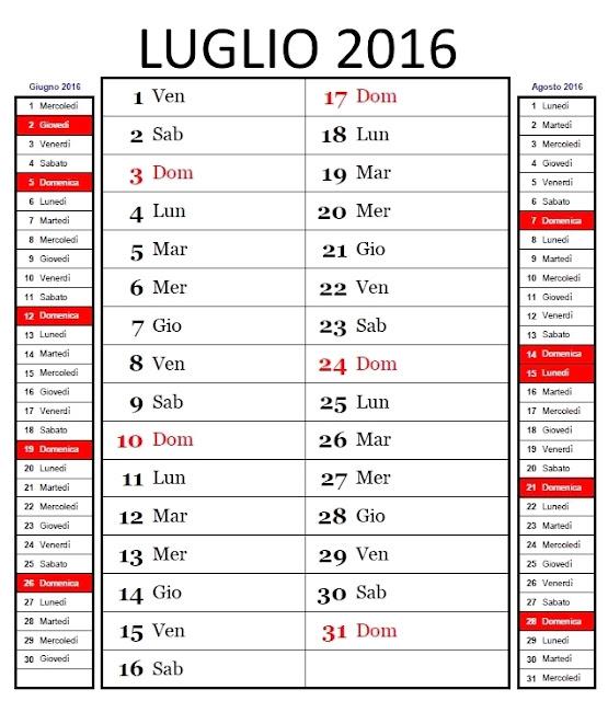 Calendario mensile 2016 - luglio