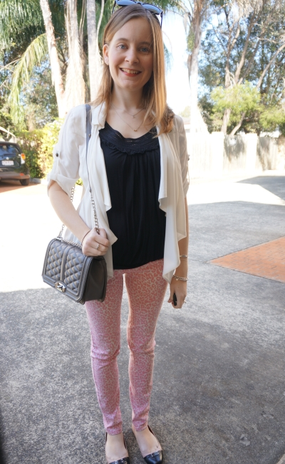 Away From Blue | Dinner Date outfit black tank pink leopard print skinny jeans RM Love bag