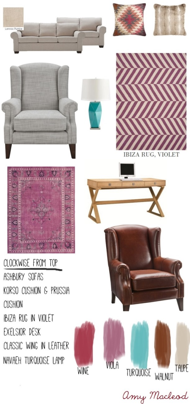 Interior Design colour palette: earthy violet by Amy MacLeod