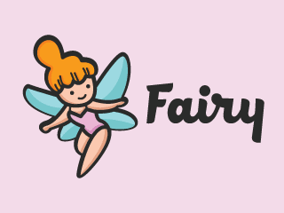Cute Little Fairy Cartoon Logo