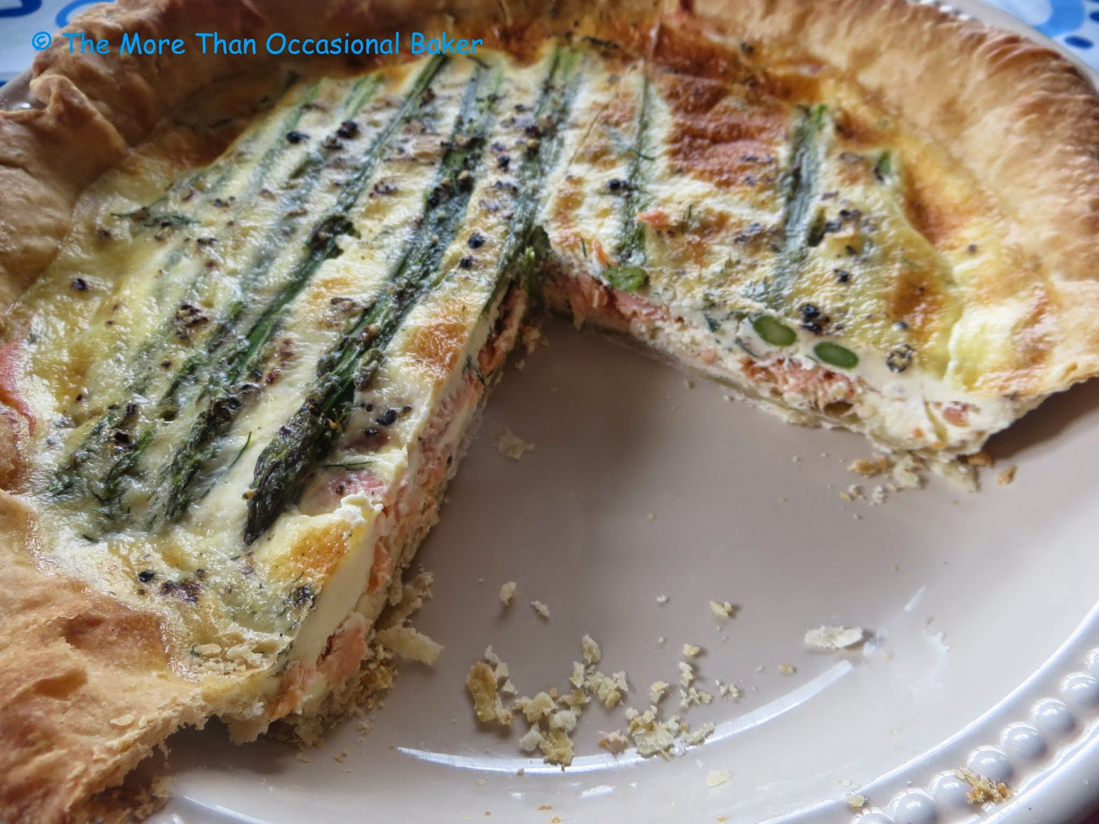 The more than occasional baker smoked salmon and asparagus quiche 1 quantity of shortcrust pastry i used the recipe from bbc good food few slices of smoked salmon 9 asparagus stalks trimmed and cooked fresh dill forumfinder Gallery