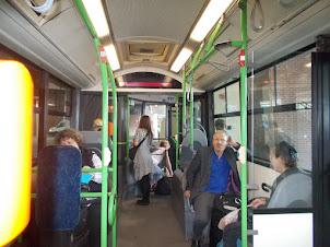 "Inside ""200 E"" bus from ""Kobanya Kispet"" station to  Budapest Airport terminal."