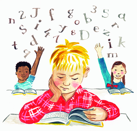 dyslexia in children A child with dyslexia can suffer setbacks at school such as delays in speech, reading, writing arithmetic, behavioral problems and low self-esteem.