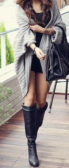 Stylish oversized grey cardigan and long boots