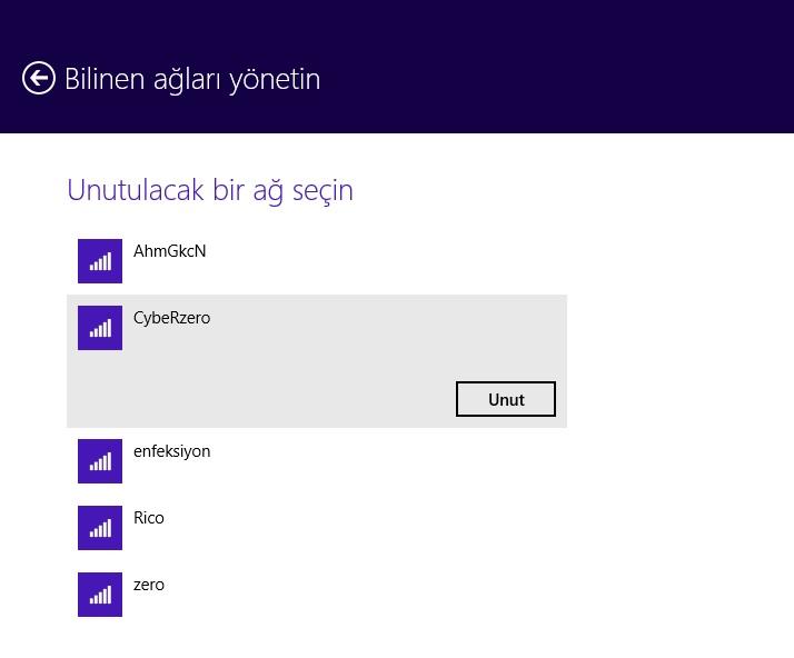 Windows 8.1 Bilinen ağları yönetin