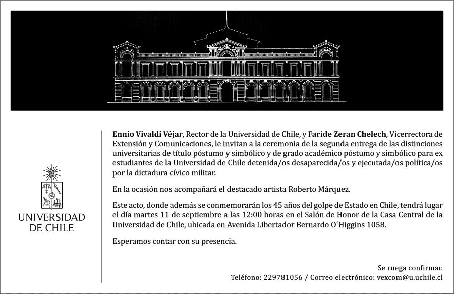Invitación: II Ceremonia Titulaciones Póstumas y simbólicas estudiantes Universidad de Chile