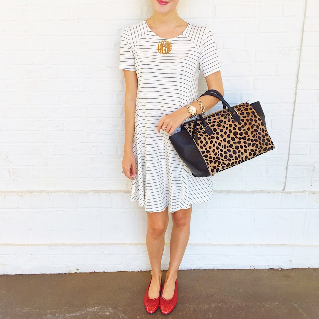 Striped swing dress for less than $40