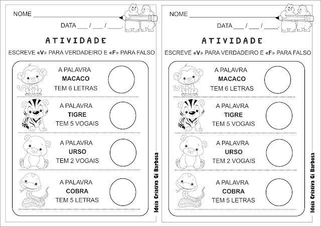 Atividade Língua Portuguesa Alfabetização