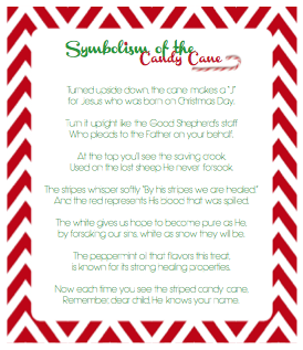 ... free printable Christmas handout on the symbolism of the candy cane