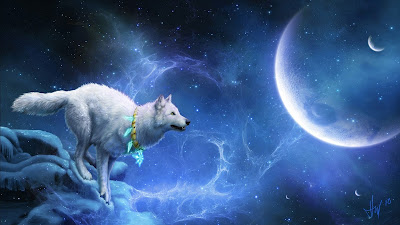 Papel de parede de fantasia Lobo Branco no formato hd 1080p. Download free fantasy white wolf wallpaper in hd high resolution.