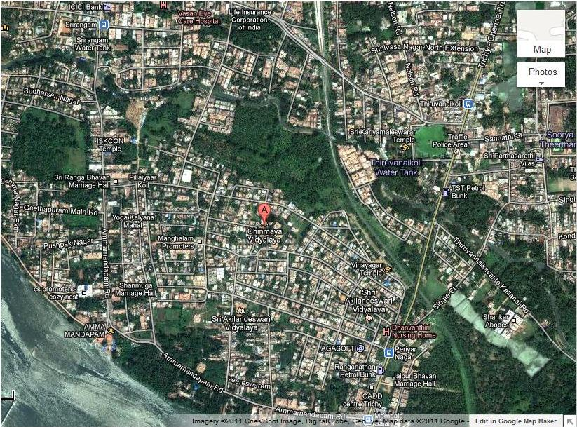 Chinmaya Vidyalaya Matriculation School Srirangam Our Location - Google map satellite zoom
