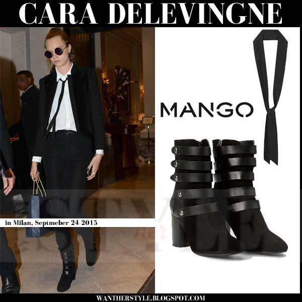 Cara Delevingne in black suede buckled blocked heel mango ankle boots with black skinny mango scarf streetstyle androgynous what she wore
