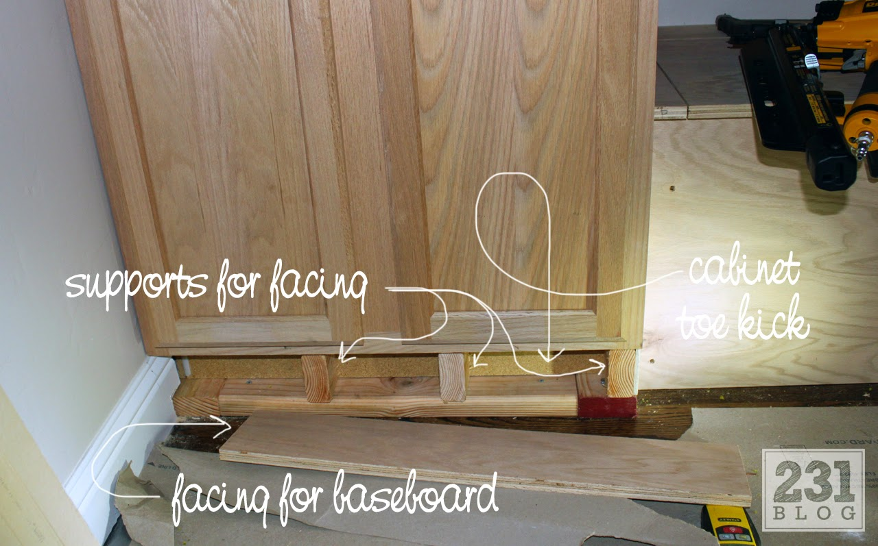 hiding a prefab cabinet toe kick for built ins with base board
