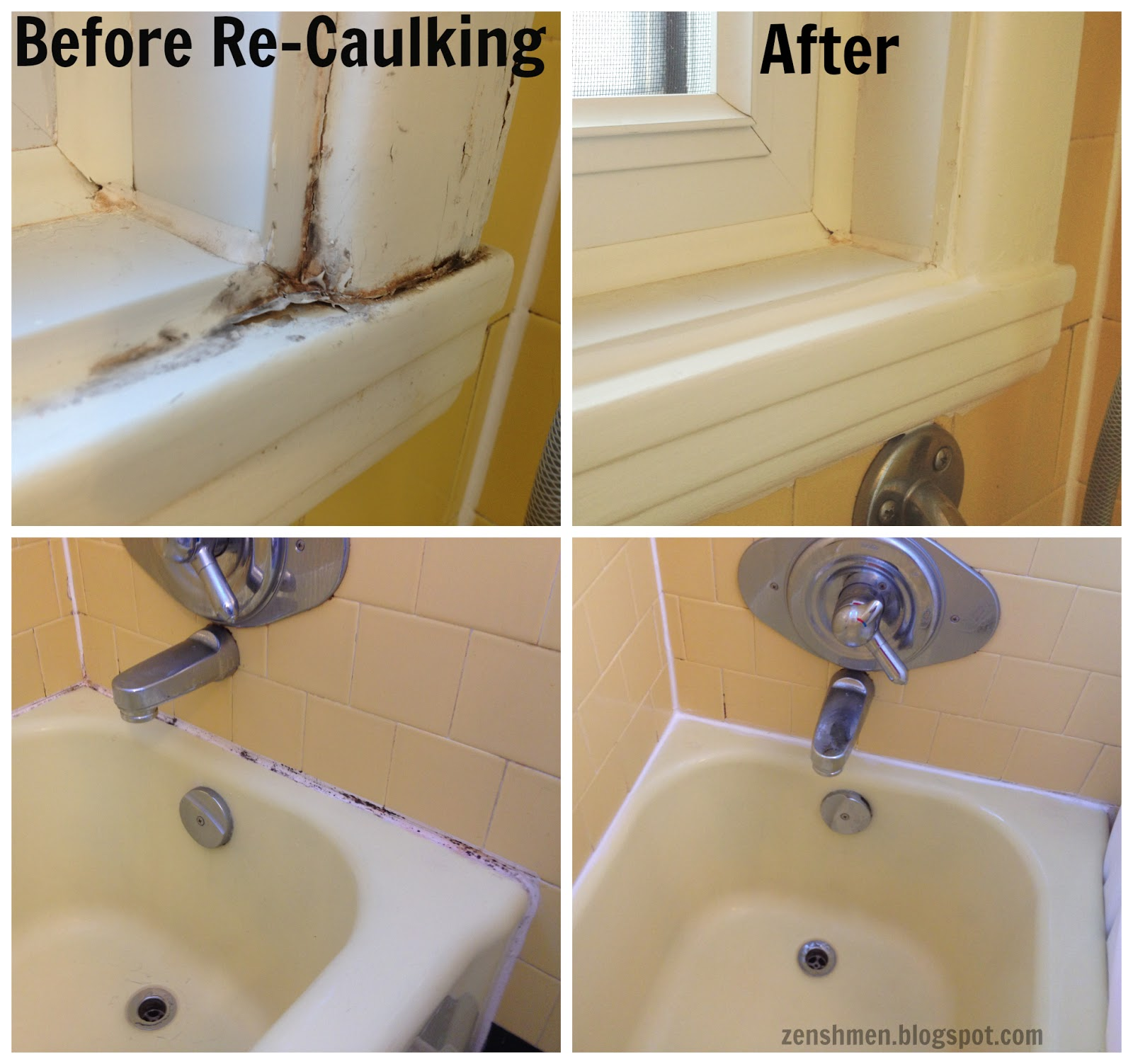 How to Stage an Old Bathroom from ZenShmen - Home Staging - DIY Re-Caulking