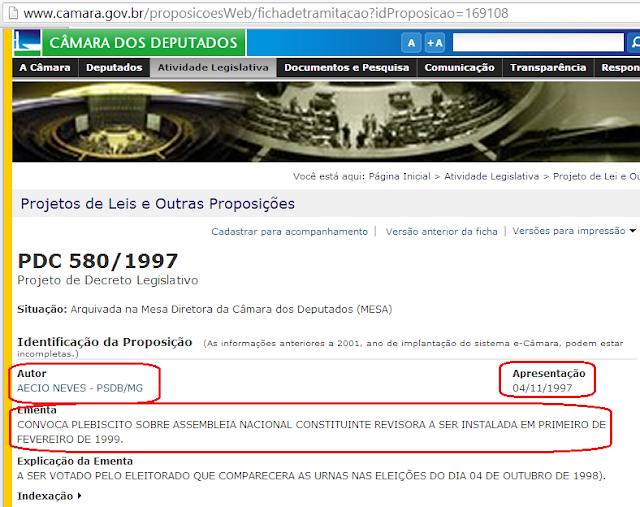 Em 1997 Aécio Neves fez Projeto de Decreto para convocar plebiscito. Agora é contra