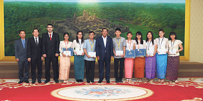Cambodian Prime Minister Hun Sen hosts Turkish high school students at his office.