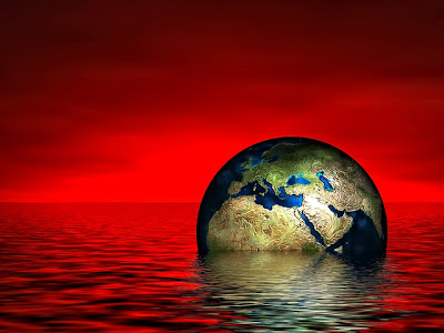 red sky and sea with earth floating