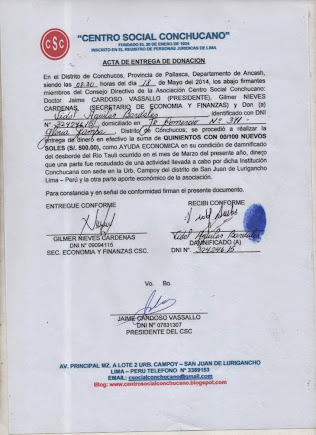ACTA DE ENTREGA A VIDAL AGUILAR BARDALES