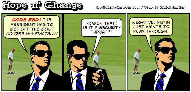 obama, obama jokes, political, humor, cartoon, conservative, hope n' change, hope and change, stilton jarlsberg, russia, syria, putin, golf