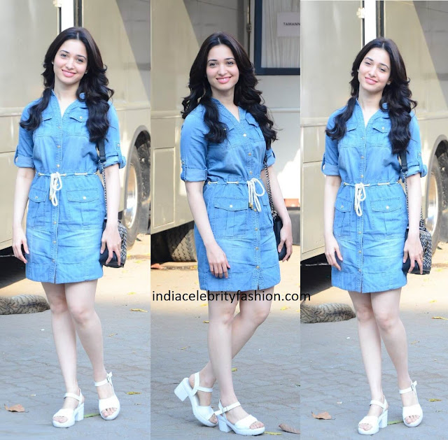 Tamannaah Bhatia in Denim Shirt Dress