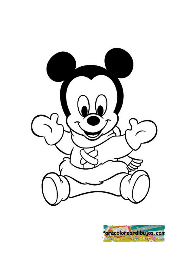 mickey mouse bebe para colorear