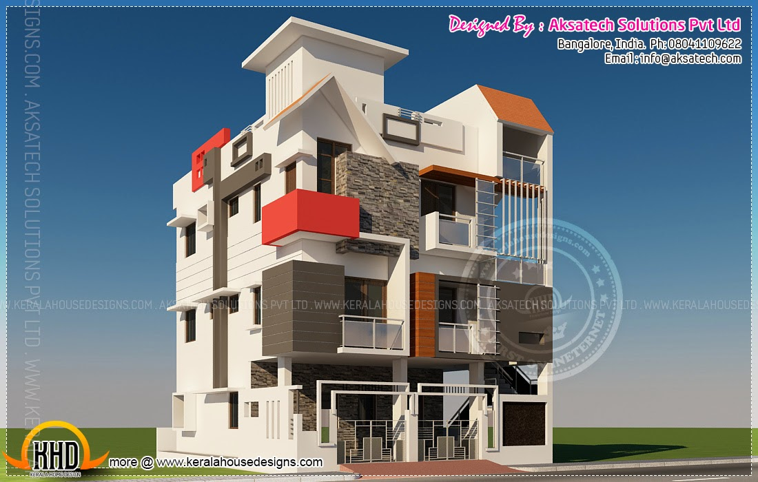 Floor Front Elevation Zip : Isometric drawings d by aksatech kerala home design and