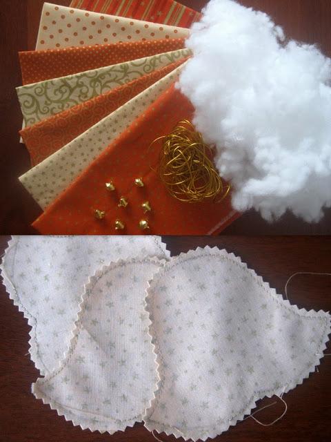 Колокольчик из ткани, новогодняя игрушка из ткани