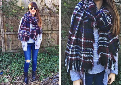j brand jeans, free people scarf, flannel scarf, big scarf, grandpa sweater, moto boots, weekday wear, weekday outfit inspiration