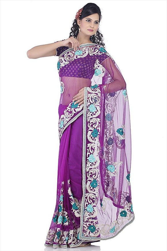 Deep Lavender Net Saree