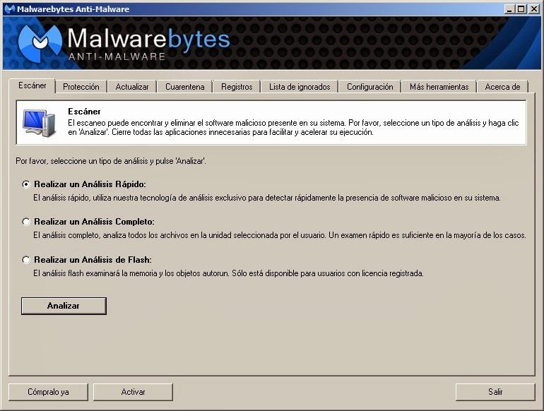 Malwarebytes Anti-Malware Escaner rápido