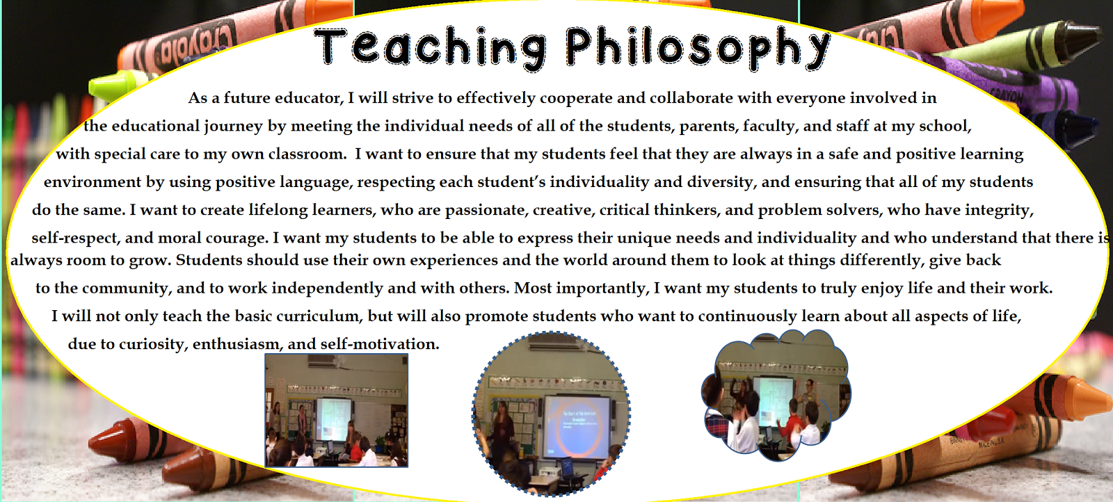a future teacher's philosophy of education A philosophy of education statement, sometimes called a teaching statement, should be a staple in every teacher's portfolioyour statement of educational philosophy is an opportunity to define what teaching means to you as an educator, as well as describe how and why you teach as you do.