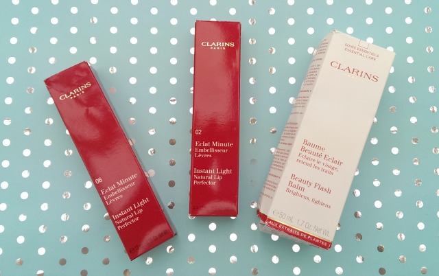 Clarins beauty products in boxes