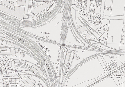 Crop of DT (55.06) 1915 edition Ordnance Survey map, NER works, Darlington