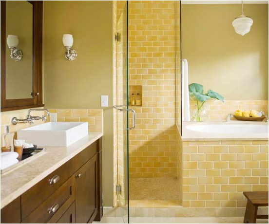 Arts and crafts bathroom design ideas room design ideas for Bathroom ideas yellow tile