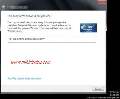 how to validate non genuine windows 7