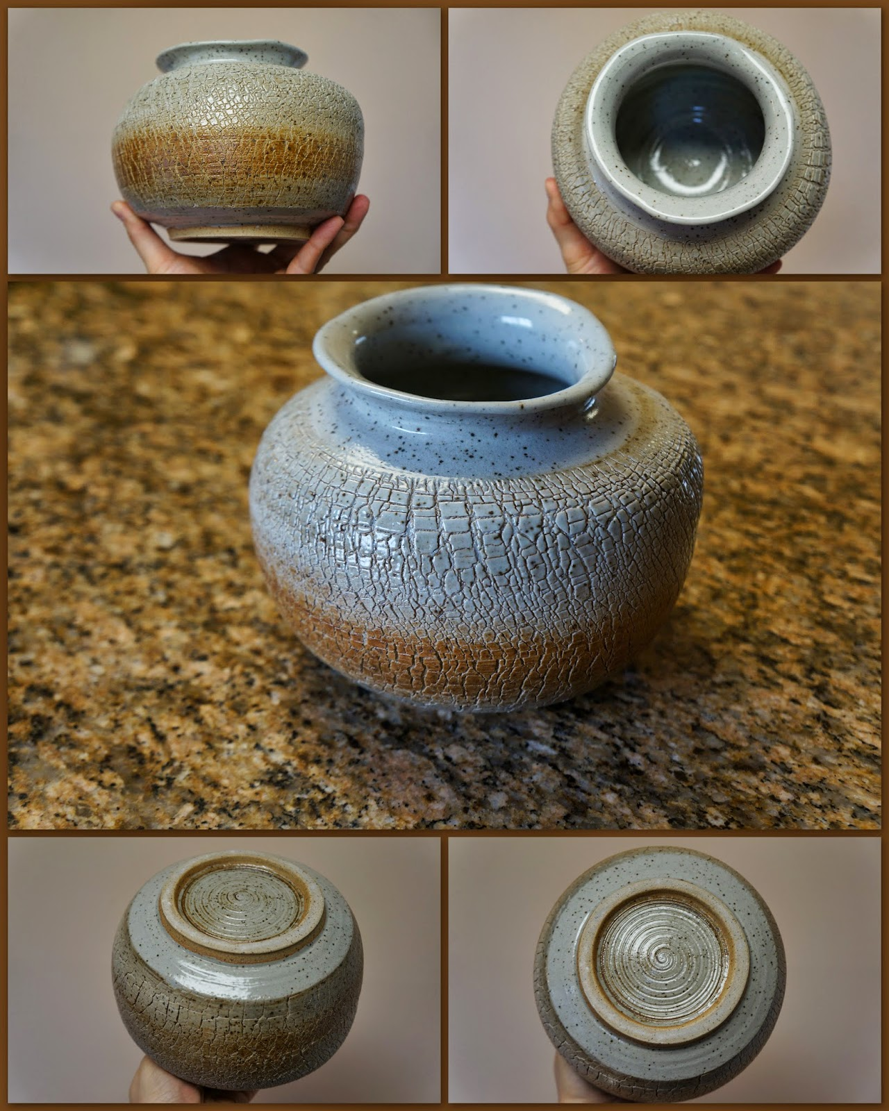 Large sodium silicate crackle wheelthrown pottery vase.