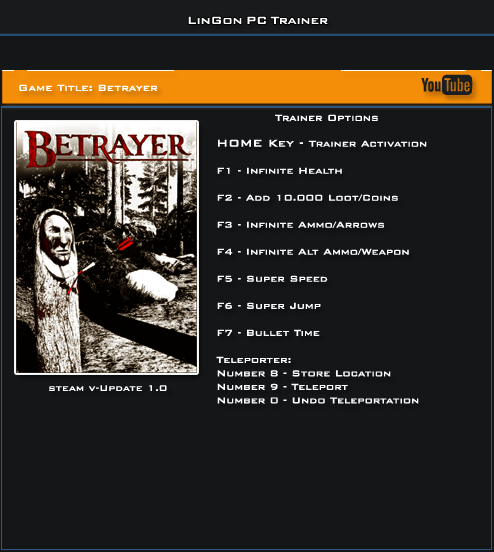 Betrayer v1.0 Steam Trainer +9 [LinGon]