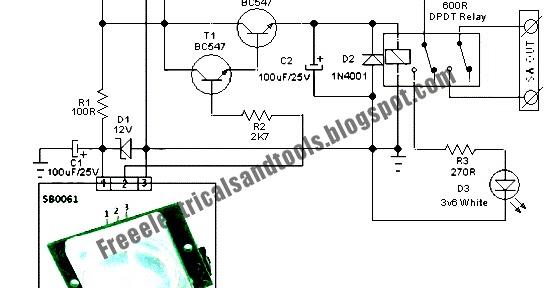 Free Schematic Diagram  Security Light  U0026 Switch Circuit Using Pir Sensor