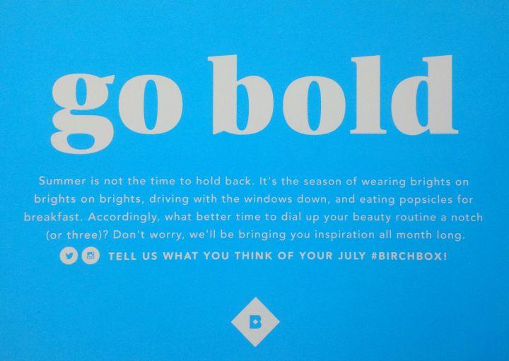 Birchbox July 2015: Go Bold info card