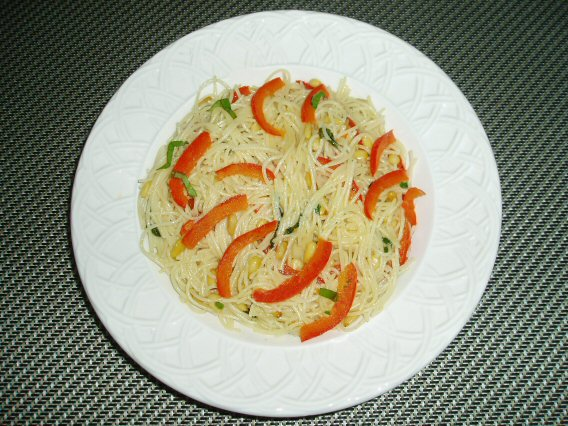 Meatless Mediterranean: Angel Hair Pasta with Red Bell Pepper and Pine ...