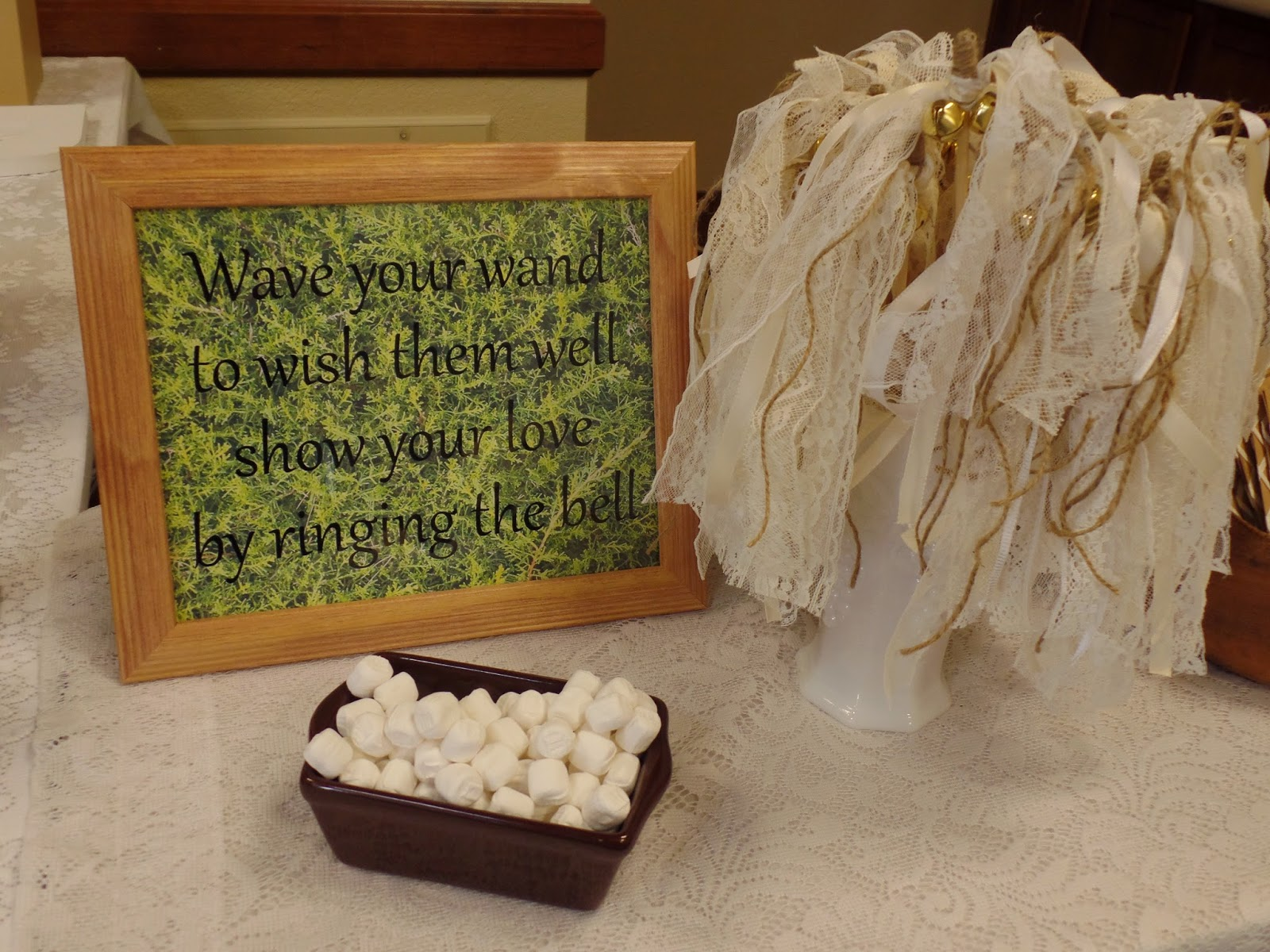 lace and burlap wedding wands for farewell