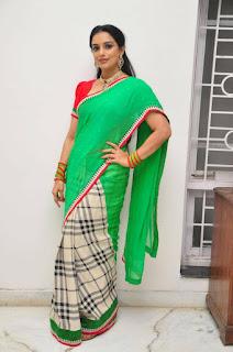 Actress Shweta Menon Stills in Green Half Saree At She Movie Press Meet 0023