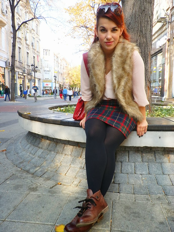 Personal Style outfit featuring tartan Marks and Spencer skirt, Chiffon H&M skirt, fur Atmosphere vest, handmade leather purse, leather autumn flats, vintage jewelry and H&M sunglasses