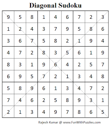 Diagonal Sudoku (Fun With Sudoku #75) Solution