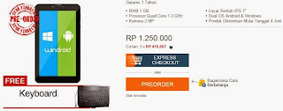 Promo Axioo Windroid 7G 3G Rp 1.250.000