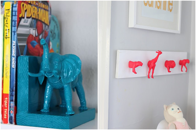 Fluo animals book shelf and hooks