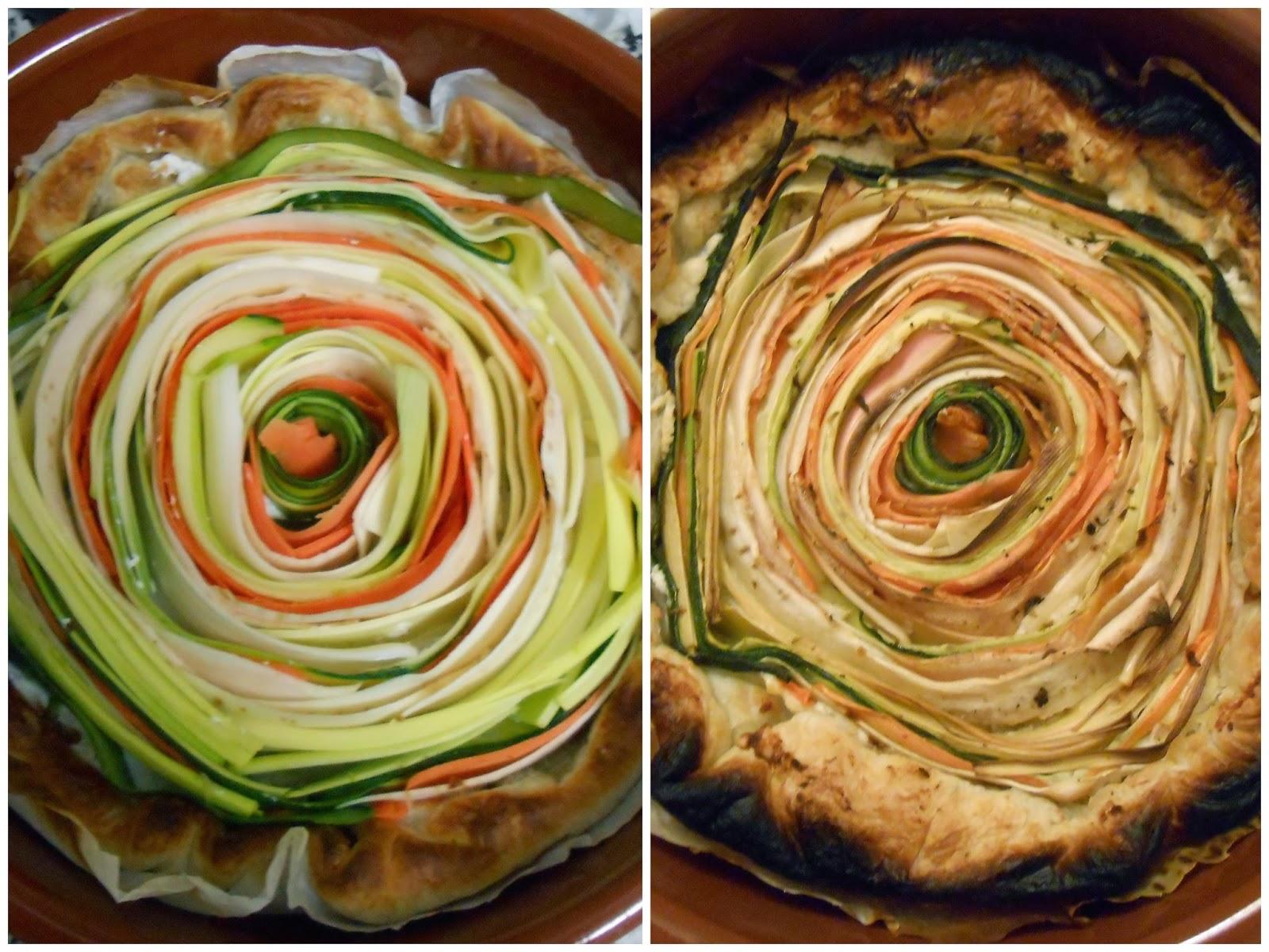 Tartes en spirale avant et après cuisson