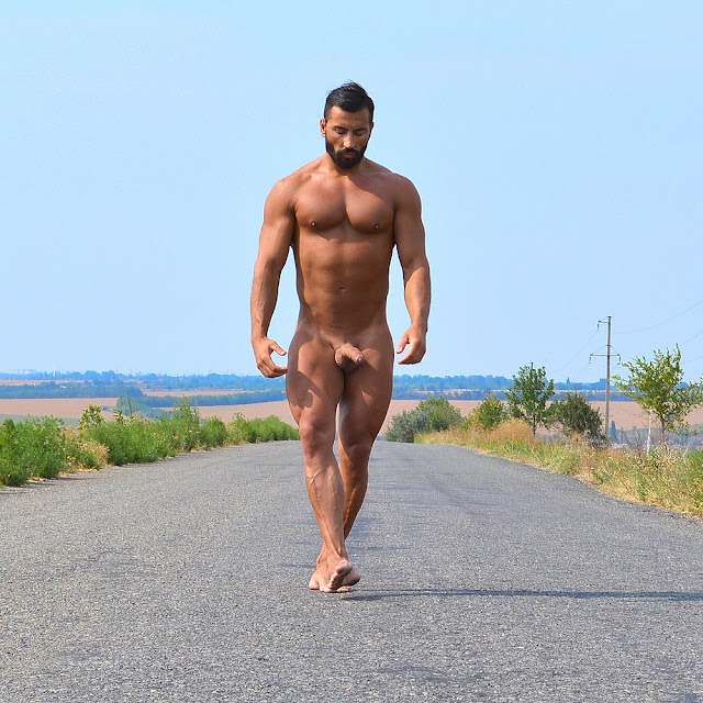 Naked Guy Walking Outdoor
